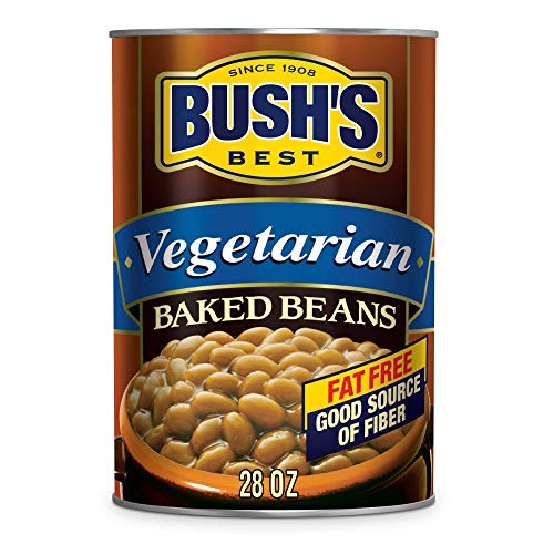 BUSH'S BEST Baked Beans Vegetarian, 28 Ounce Can (Pack of 12), with Protein and Fiber, Low Fat, Gluten Free, Canned Baked Beans, Canned Beans