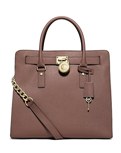 Gorgeous saffiano texture leather with polished gold hardware Measures approx. 14 inch (W) x 13 inch (H) x 6 inch (D) Magnetic snap closure; fully lined interior with large zipper pockets & multifunction slip pockets Two leather handles with 5 inch d...