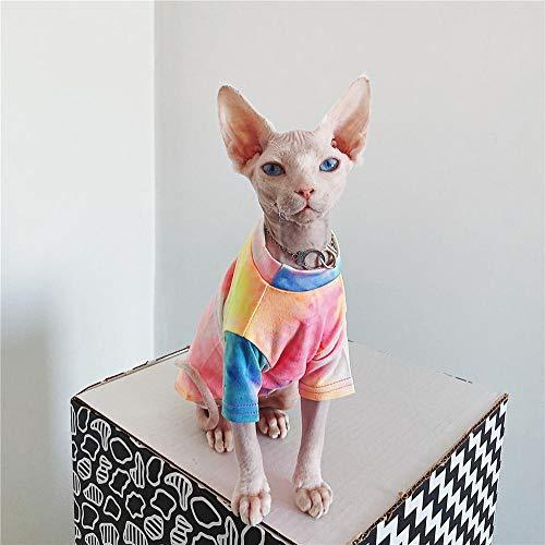 ZHIHAN Sphinx Katze Kleidung Farbe T-Shirt haarlose Katze Sommer Sonnencreme atmungsaktive Kleidung, Farbe 1, S.