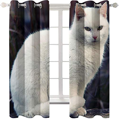 HQQK Cortina 3D Impreso,Gato Blanco Cortinas Opacas De Ojales Poliéster Cortinas para Sala de Estar y Dormitorio con Aislamiento Térmico 2X W 110 x L 215 cm, Negro