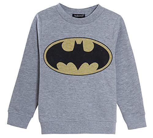 DC Comics Sudadera de Batman para niños de manga larga, color gris Gris gris 5-6 Años