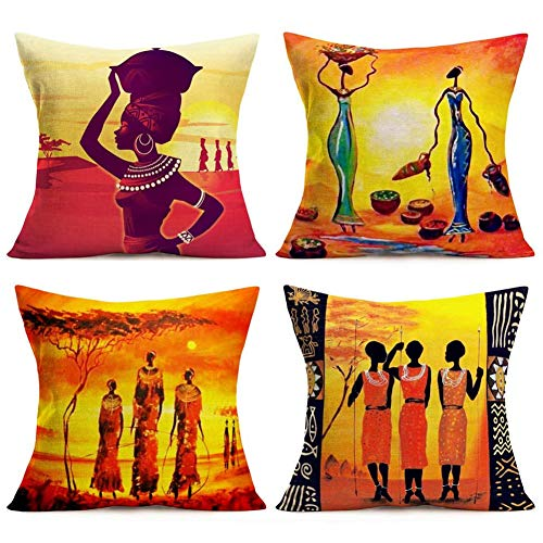 Doitely Oil Painting African Ethnic Tribe Lady Print Throw Pillow Covers Set of 4 Cotton Linen Cushion Cover for Home Sofa Bedroom Livingroom Decor 18 x 18 inches Pillowcase (AE)