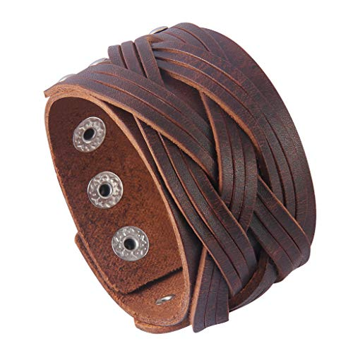 GelConnie Leather Cuff Bracelet Punk Braided Bracelets Rock Leather Wristbands Religious Gothic Adjustable Wrap Bracelet for Men, Women LPB302-Brown