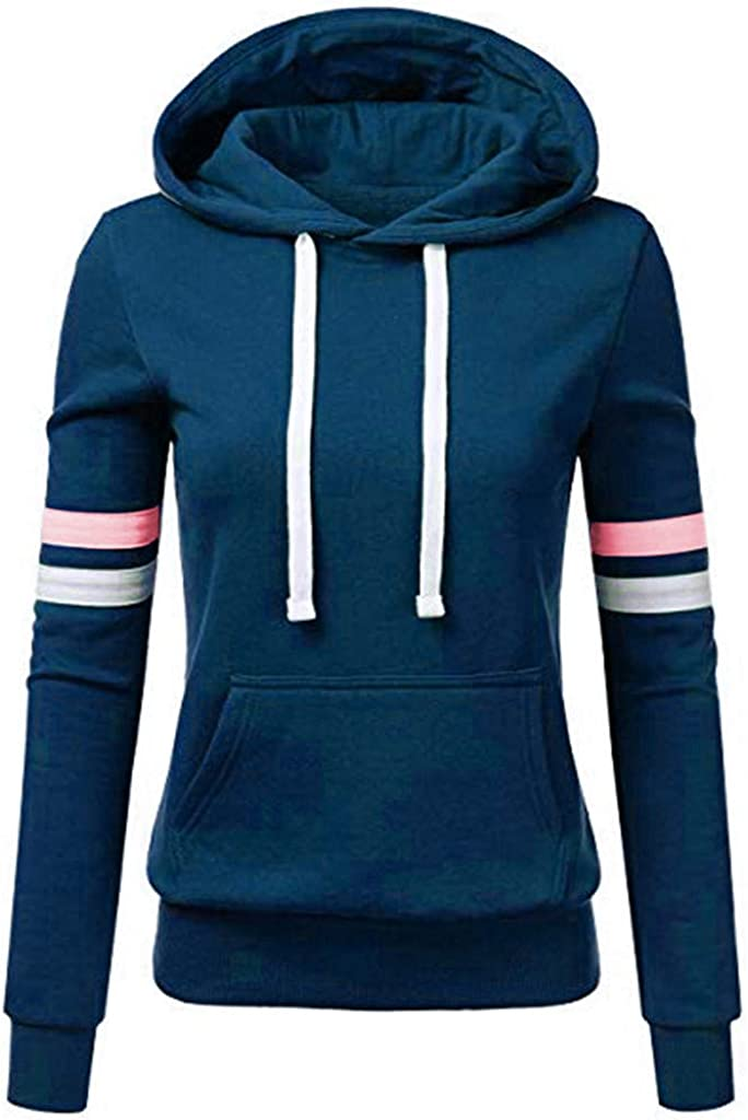 Womens Casual Hoodie Long Sleeve Striped Drawstring Lightweight Pullover Sweatshirt Knit Tunic Jacket with Pocket