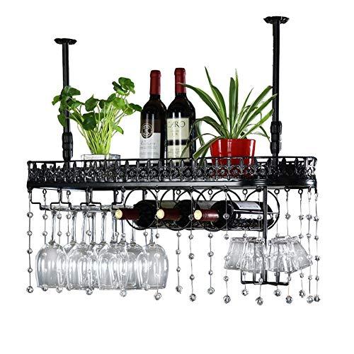 Wijnrekken wijnrek hangende kristallen decoratie Upside Down Wine Glasses Holder Ijer-proces hangende wijnstand plafond decoratie rek met whisky Cup afdruiprek voor het hoofdrestaurant / bar eenvoudig