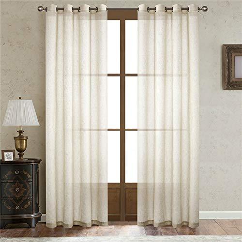 Bolo Cortinas de hilo bordadas, cortinas de aspecto de lino, cortinas transparentes, cortinas de malla decorativas para cocinas, 52 x 63 L