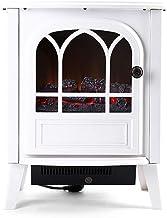 Guoyajf Eléctrico Estufa Calentador Hogar con 3D Madera de Madera Realista Efecto de Llama ardiente y 2 configuraciones de Calor - Posición Libre portátil Calentador de Espacio 2000W,White