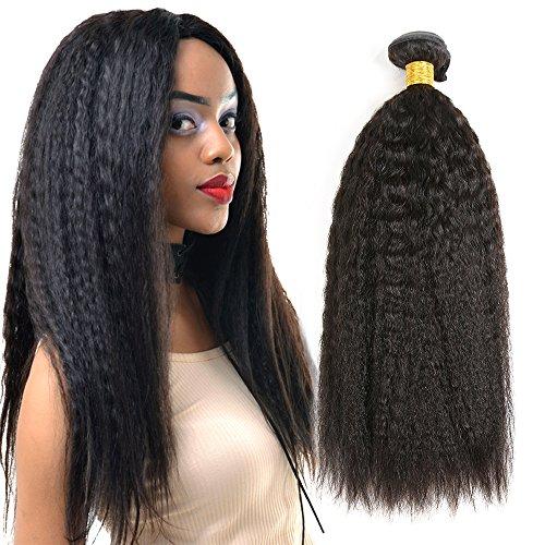 THATSYOU 6A 3 Tissage 300g Kinky Straight Perruque Cheveux Humains Naturels Noir Tissage Brésilien Pour Femmes Black Kinky Yaki Straight Human Hair Weaves (1PCS 12pouces)