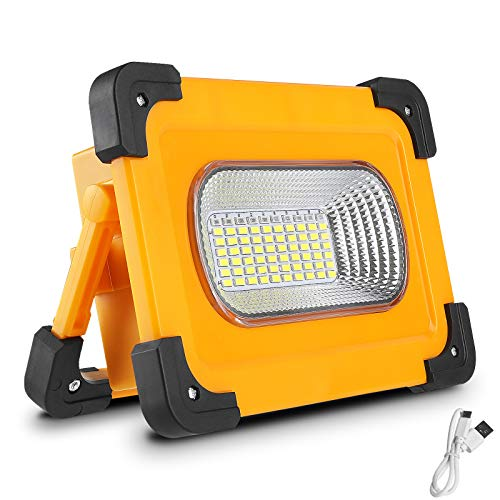 Portable LED Work Light, 3000LM 60W Solar and USB Rechargeable Spotlight with Stand, 11000mAh Power Bank Waterproof LED Flood Light for Outdoor Camping Hiking Emergency Lighting