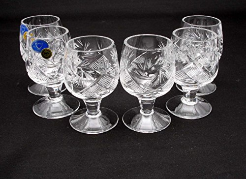 Set of 6 Russian Cut Crystal Shot Glasses on Short Stem 50ml Hand Made