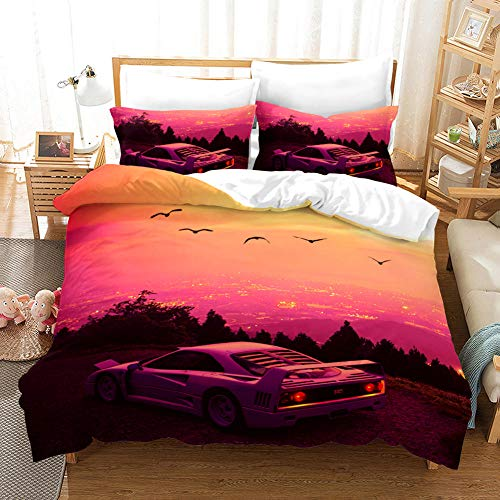 BVWSBGF Printed Duvet Cover 94.4x102.3inch Sunset Landscape Sports Car Multi Colour Ultra Soft Polyester Bedding Sets Quilt Cover With 2 Pillowcases, with Zip Closure Super King