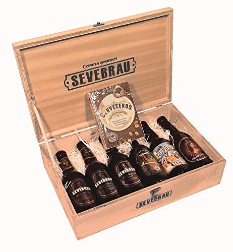 Cesta de Regalo Sevebrau con 6 Botellas Cervezas Artesanas Premium Españolas Surtidas de 33 cl Incluye Obsequio Juego de Mesa Cerveceros
