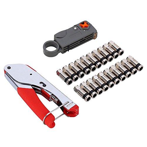 Coaxial Cable Crimper Kit, Coaxial Compression Connector Stripper Tool Set para RG6 RG59 Coaxial Stripper Cable con 20 conectores para el hogar CATV TV CT