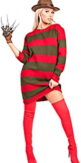 Top Fashion18 Ladies Mens Unisex Freddy Red Green Stripe Knitted Fancy Dress Halloween Party Costume Jumper