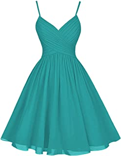 H.S.D Chiffon Bridesmaid Dresses Short Evening Party Dress Spaghetti Strap Bridesmaid Gowns