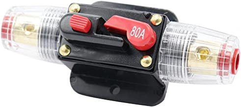 Perfk 12V DC Inline Circuit Breaker Trolling Motor Auto Marine Boat Bike Stereo Audio Inline Fuse Inverter 80A