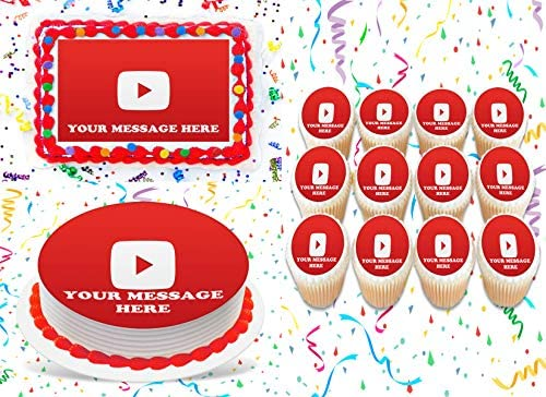YouTube Cake Topper Edible Image Personalized Cupcakes Frosting Sugar Sheet 8 Round Cake Topper product image