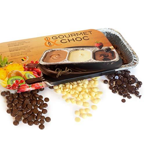 3 x 100g BBQ Choc - Fondue Schokolade zum Grillen - Gourmet Schoko Zartbitterschokolade, Weiße Schokolade, Vollmlichschokolade - mit 2 Schalen