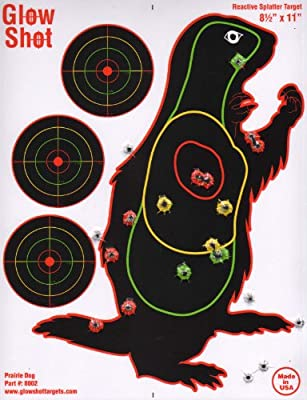"25 Pack - Prairie Dog Target 8 1/2"" by 11"" - Reactive Splatter Targets - GlowShot - Multi Color - See Your Hits Instantly - Gun and Rifle Targets"