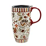 17 oz Tall Ceramic Travel Mugs Coffee Cup with Sealed Lid and Handle,Flower