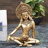 StatueStudio Brass Lord Indra Dev Statue for Home Pooja Wealth Happiness Handwork Vastu Fengshui Sitting God Statue Good Luck Gift Showpiece, Glossy