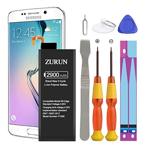 Galaxy S6 Edge Battery ZURUN 2900mAh Li-Polymer Battery EB-BG925ABE Replacement for Samsung Galaxy S6 Edge SM-G925 G925V G925A G925T G925P G925R4 with Screwdriver Tool Kit [2 Year Warranty]