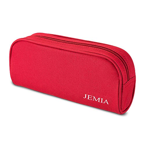 JEMIA Single Compartments Collection 1 Independent Zipper Chambers with Mesh, Zip Pockets Pencil Case (Red, Polyester)