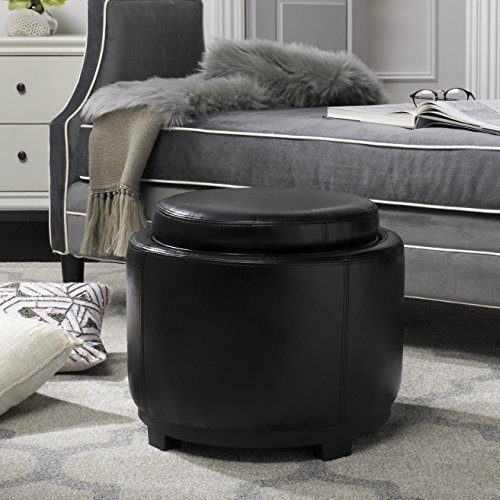 Safavieh Hudson Collection Chloe Leather Single Tray Round Storage Ottoman, Black