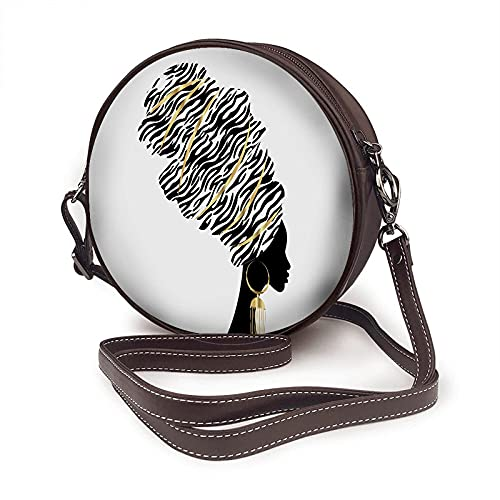 AKERCY-CASE African Woman Shoulder Bags Traditional Turbante Kente Head Wrap Ethnic Zebra Leopard Hairstyle Round Crossbody Bags for Women Microfiber Leather Purse
