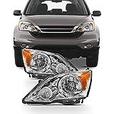 For 2007-11 Honda CR-V Driver + Passdenger Sides Headlight Assembly Chrome Houing Clear Lens Full Set