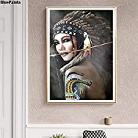 CHBOEN キャンバス絵画家の装飾 羽毛のある帽子をかぶったインドの女性キャンバス絵画アートポスター壁にプリントアート写真リビングルームの装飾家の装飾 60x90cm(23.6x35.5インチ)