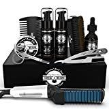 Beard Straightener Grooming Kit for Men, Beard Brush, Double Side...