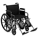 "Heavy Duty Bariatric Folding Wheelchair Self Propelled Leg-Rests Strong Extra Wide 24"" Seat"