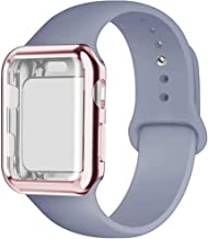 YC YANCH Compatible for Apple Watch Band with Screen Protector Case 38mm 40mm 42mm 44mm, Silicone Sport Strap Replacement Wristband with Apple Watch Case Compatible with iWatch Series 1/2/3/4/5