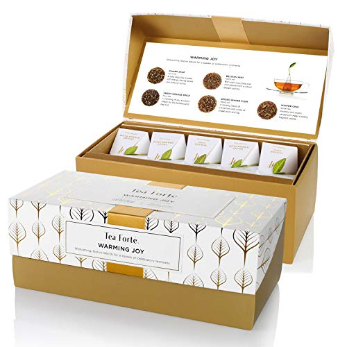 Tea Forte Warming Joy Presentation Box Tea Sampler Gift Set, Assorted Variety Tea Box, 20 Handcrafted Pyramid Tea Infuser Bags with Black Tea and Herbal Tea Winter Holiday Blends