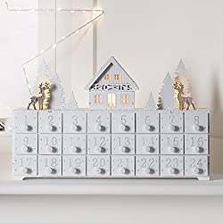 white advent calendar box with drawers