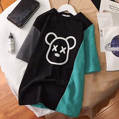 TooFoYo Personalisiertes T-Shirt Damen Sommer Plus Größe Frauen Mode Lässige Sommer Drucken Lose Farbe Matching Kurzarm T-Shirt Shirt schwarz L