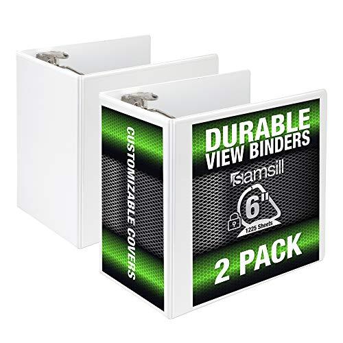 Samsill Durable 6 Inch Binder White D Ring Binder/Customizable Clear View Binder/Bulk Binder 2 Pack/White 3 Ring Binder 6 inch Binders