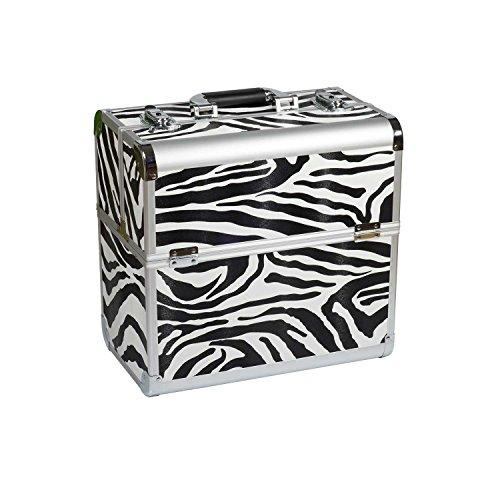N & BF professionale cosmetico valigia grande Alu ESTETISTI trucchi Multi valigetta Nagel Beauty Case con serratura 2piani + scomparti vuota con scomparti a ribalta Zebra