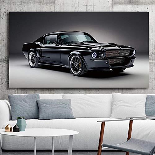 VVSUN 60s Classic Black Muscle Charge Cars Mustang Poster Sala de Estar Lienzo Decorativo para el hogar Cuadro de Arte de Pared 60x120cm 24x48 Pulgadas Sin Marco