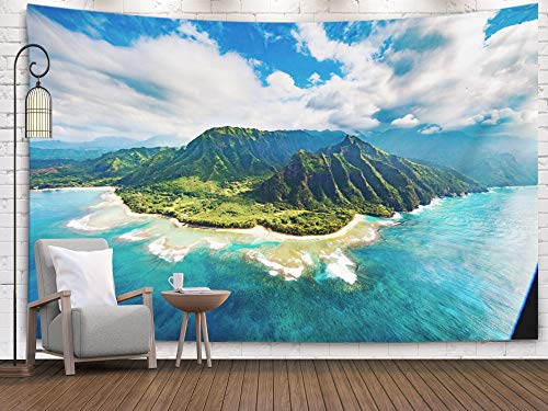 Shorping Large Tapestry,Wall Tapestry, 80x60Inches Home Art of Cotton for Décor Living Room Dorm Pali Coast Kauai
