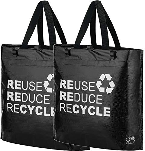 BikeZac Fahrrad Shopper Set | Fahrradtasche | Einkaufstasche aus Kunststoff | Schwarze Gepäckträgertasche | Falttasche | Einkaufswagen Tasche Recycling | Mehrwegtasche | Black Recycle 2 x