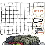 WUPP Cargo Net for Pickup Truck Bed, Heavy Duty 3'x 4' Elastic Cargo Bungee Net Stretches to 6' x 8' for Roof Rack/Car/Trailer, 12 D-Clip Carabiners, 4'x4' Mesh Holds Small and Large Loads Tighter