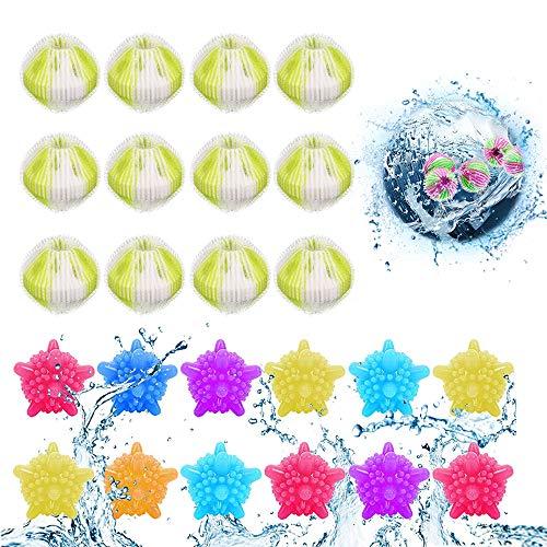 Waschbälle,Waschmaschine Ball,Wäschekugel flusenfreie,Reinigungs Ball,Haustier Haarentferner,Tierhaarentferner Waschmaschine,Fusselbälle Waschkugel,Tierhaarentferner Haarentfernung 24PCS (Hellgrün)