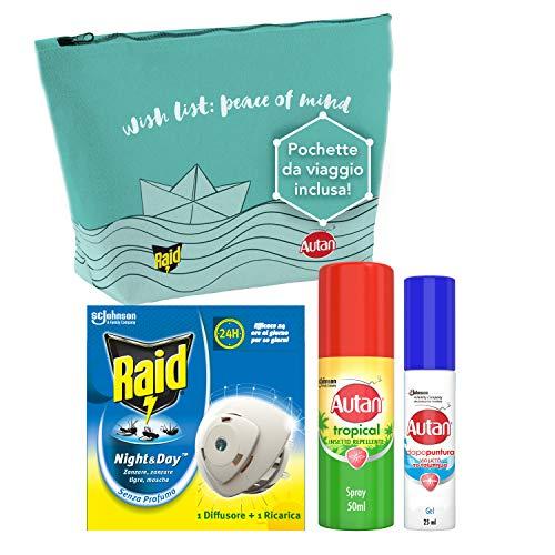 Kit da viaggio contro gli insetti: Raid Night & Day, Autan Tropical Mini Spray 50 ml, Autan Dopopuntura Gel 25 ml