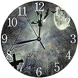 NIUMM Reloj De Pared Tumbas Y Cruces En El Reloj De Pared Silencioso Redondo De Halloween