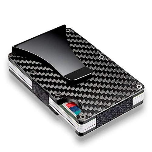 RFID Tarjetero Hombre Bloqueo Cartera De Hombre Mujer Tarjetero Monedero Billetera Juvenil Aluminio Slim para Tarjetas Y Billete 86mm*54mm para Tarjeta de crédito y bancaria(Fibra de Carbon)