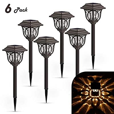 Solar Pathway Lights Outdoor – 6 Pack Pathway Lights Solar Powered Reddish-Brown Glass Lampshade & Stainless Steel, Auto On & Off, 25 Lumens, Waterproof Solar Lights Outdoor Decor for Path, Landscape