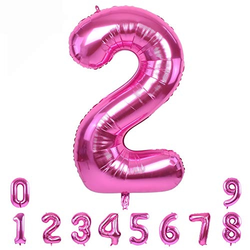 40 Inch Pink Large Numbers Balloons 0-9,Number 2 Digit Helium Balloons,Foil Mylar Big Number Balloons for Birthday Party Supplies Decorations