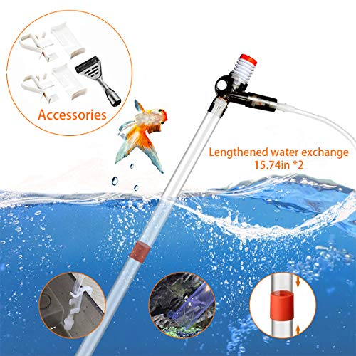 SSRIVER Aquarium Gravel Cleaner Fish Tank Kit Long Nozzle Water Changer for Water